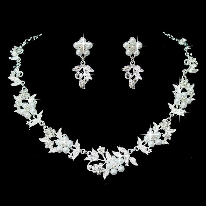 Bridal Wedding Flower Charm Pearl Austrian Crystal Necklace Earrings Jewelery Set 3