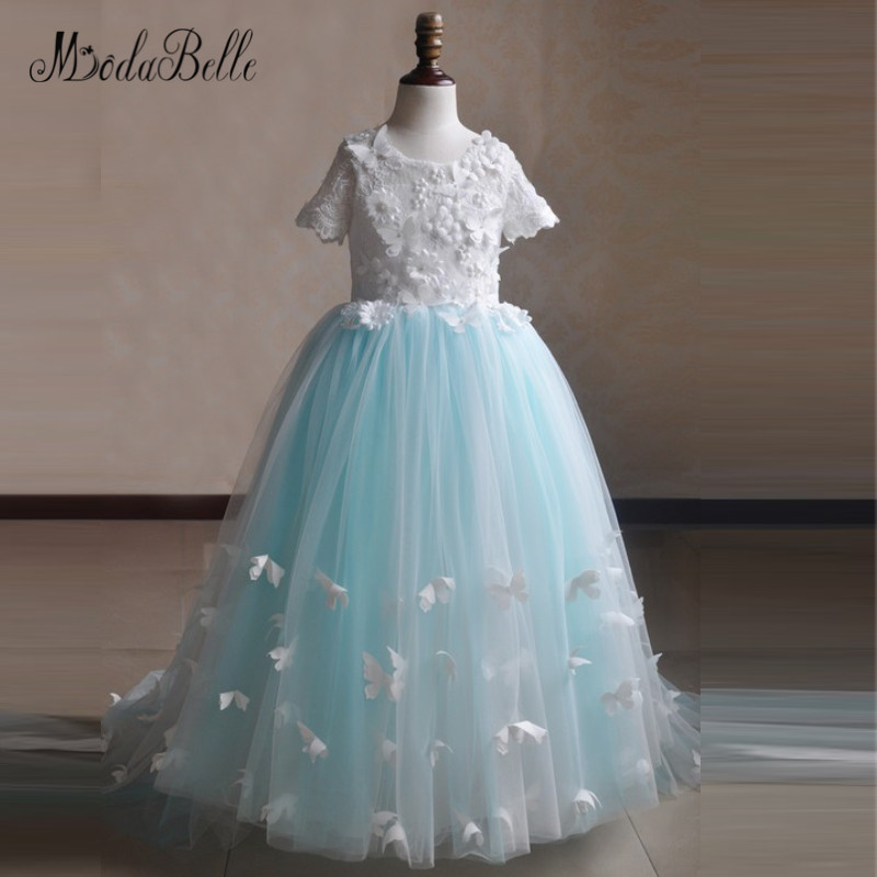 modabelle Bufferfly Light Blue   Flower     Girl     Dresses   Kids Princess Party   Dresses   For   Girls   10 12 Birthday Children Pageant   Dress