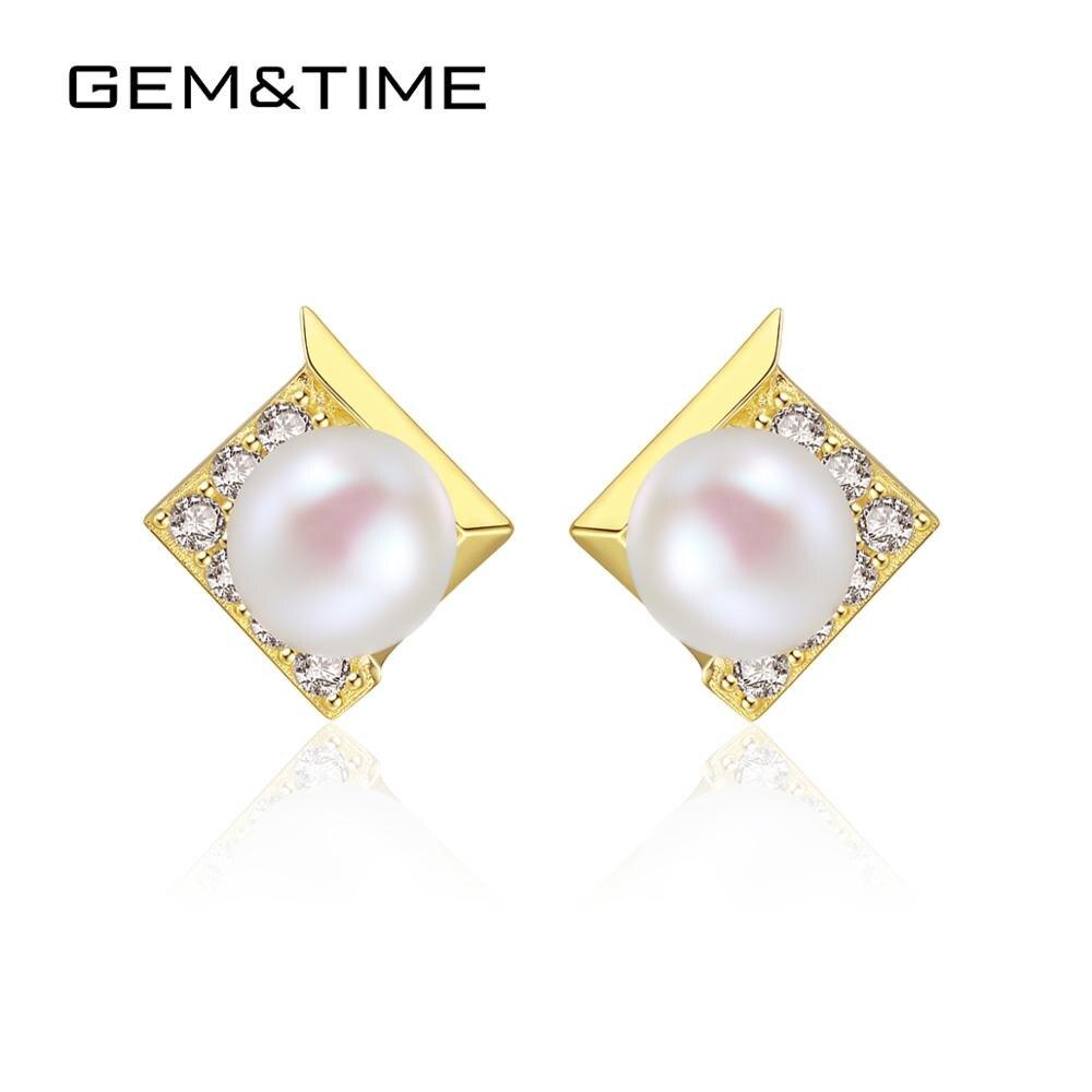 Boucles d'oreilles rondes en perles d'eau douce naturelles pour femmes 14 k or jaune Pur bijoux fins Pendientes De Ouro Pur E14127