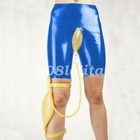 100% Hot Latex Rubber Shorts Briefs Knee Length Set urine bag Size XXS XXL