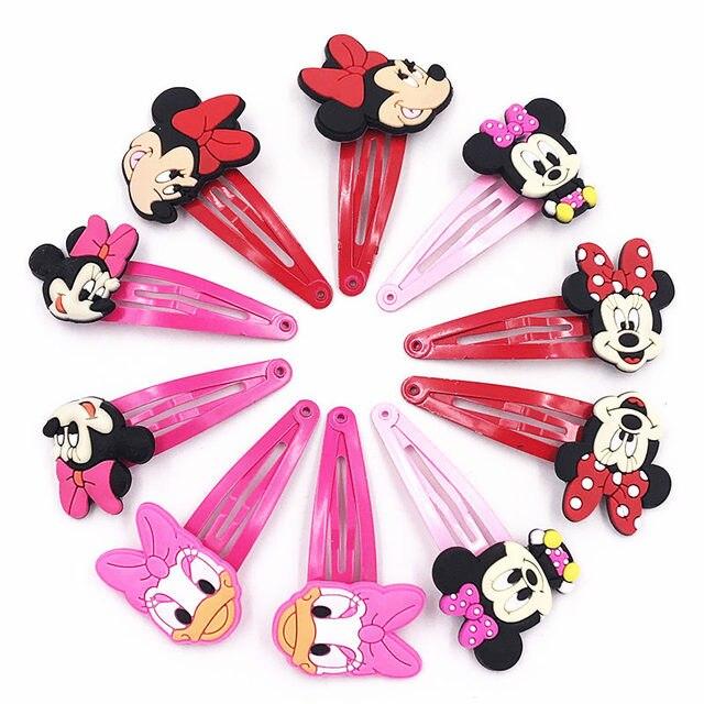 10 Pcs Bonito Dos Desenhos Animados Minnie Mickey Margarida Meninas Grampos Crianças grampo de Cabelo Presilhas de Cabelo Acessórios Headwear Crianças Presente de Aniversário