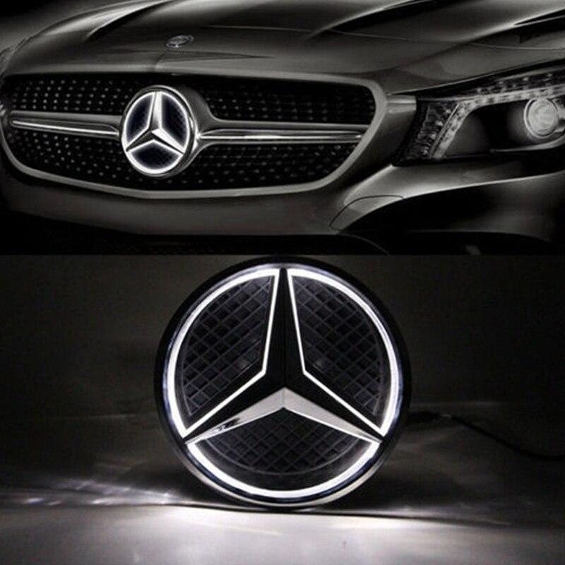 SITAILE Lumineux Voiture LED Lumière Avant Grille Étoiles Logo Emblème Badge pour Mercedes Benz Voiture de coiffure taille 18 cm /7.09 pouces