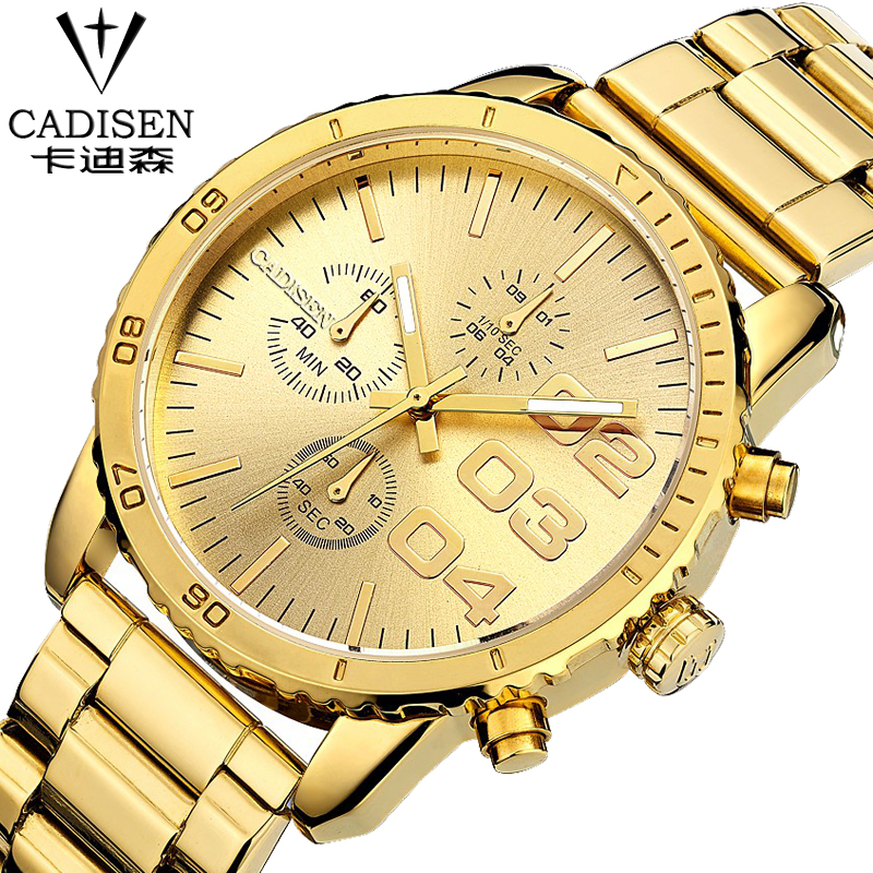 ФОТО 2016 New Cadisen Fashion Chronograph Men Watches Stainless Steel Quartz sports military casual Wrist Watch Relogio Masculino