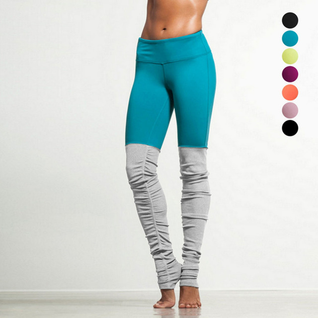 Women's patchwork leggings Candy Color Splice Design workout leggins Mid Waist Skinny pants trousers for women