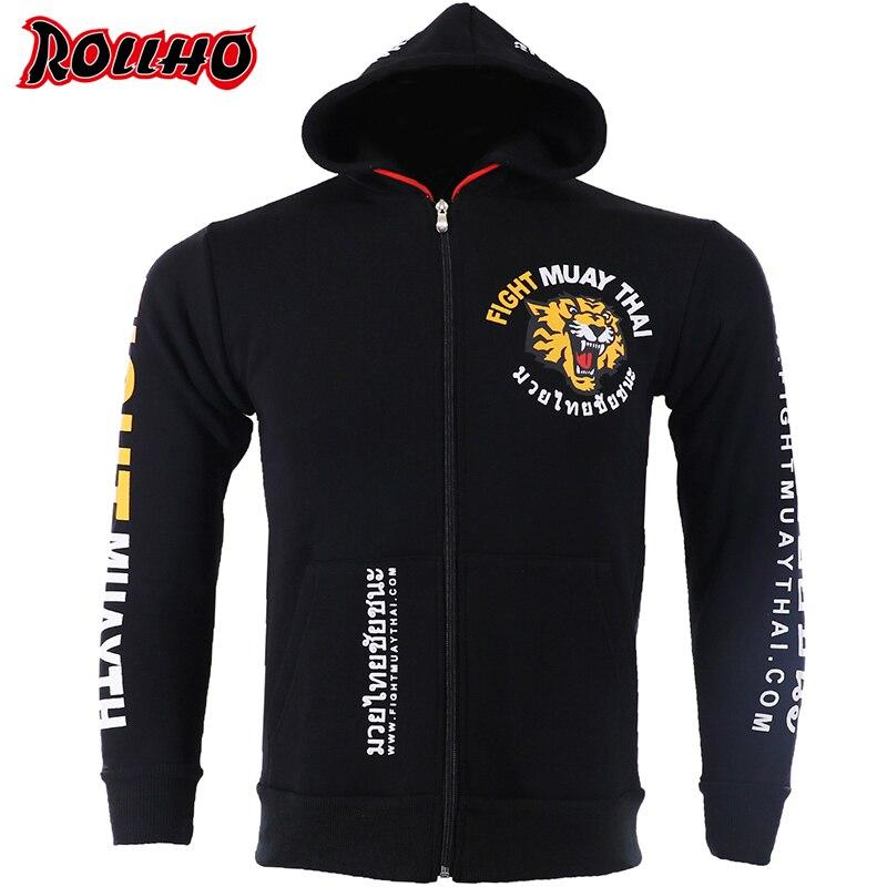 MMA Rock Tiger Boxing Hoodies Autumn Jacket Long Sleeve Hooded Sweatshirt Kickboxing Combat Fight MUAY THAI Jacket