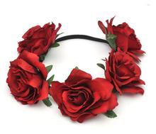 Hot Women Girl Bride Hair Wreaths Flower Headband Rose Crown Forehead Floral Hair Band for Party Wedding Headband hand wreath