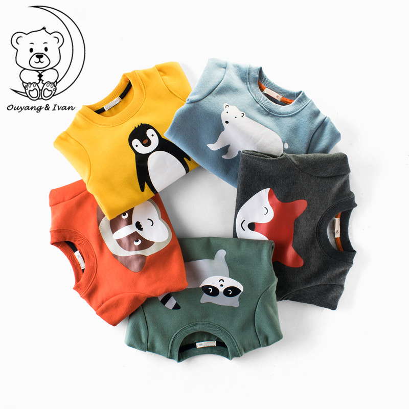 2018spring and autumn childrens clothing Sweatshirts fleece animal pattern pullover boys cotton Hoodies casual style 5 colors