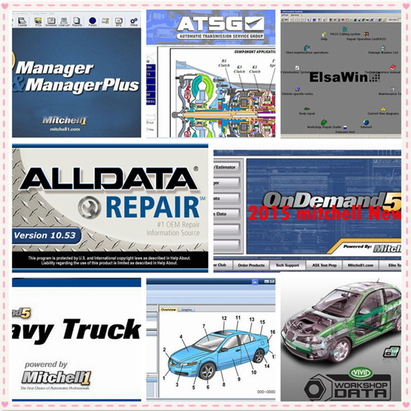 2019 dados Alldata e mitchell software de Reparação Automóvel Alldata 10.53 Mitchell ondemand5 2015 v dados Vívida oficina ElsaWin 1 TB HDD