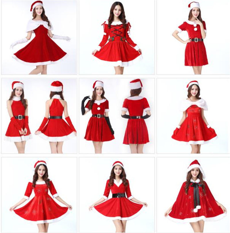 ecowalson Christmas Santa Costume Lingerie Dress Hat Women Sexy Night Club Party Clothing cloak