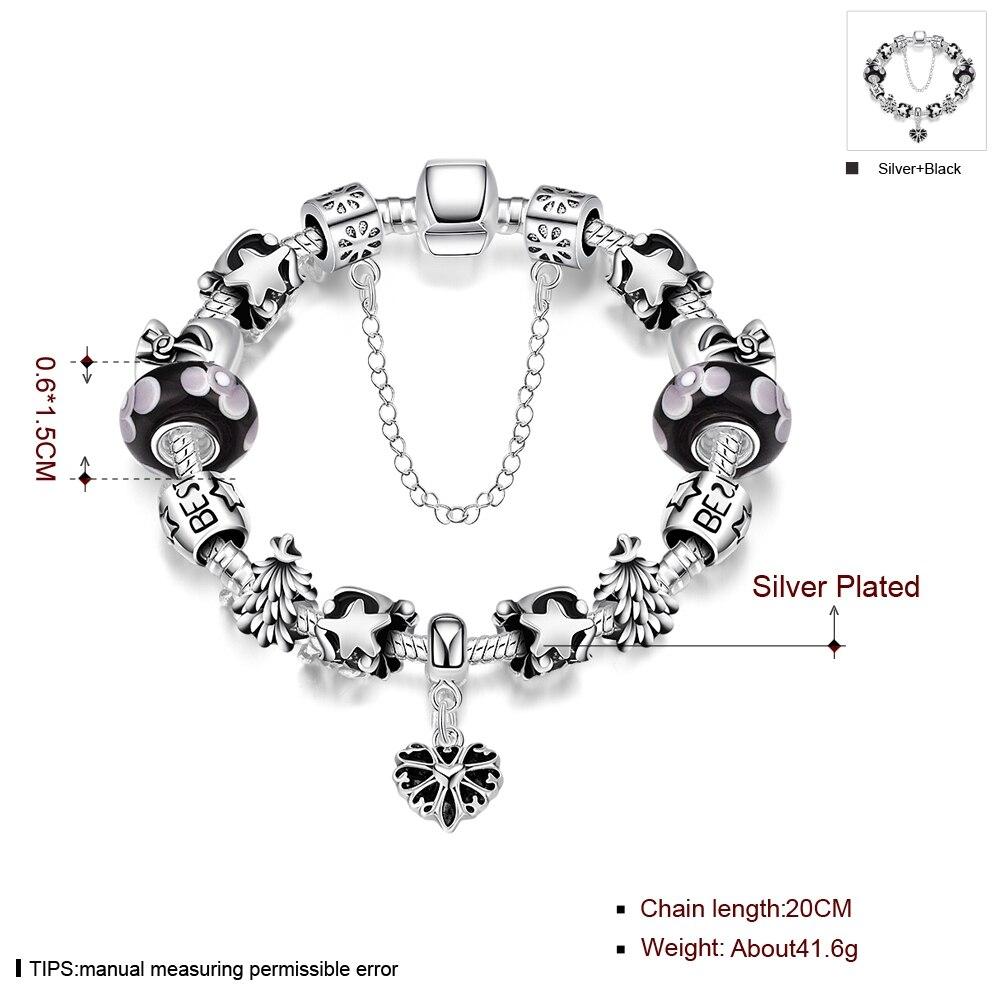 2018 Vintage Silver Charm Bracelet With Love Pendant & Pink Crystal Ball Pandor Bracelet Silver 925 Original With Logo Original