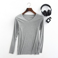 Autumn And Winter Thin Male Solid V Neck Undershirt Long Sleeve Plus Size Seamless Comfortable Shirt