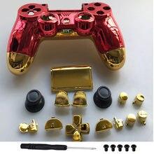 Carcasa completa de oro cromado para PS4 Pro JDM 040, carcasa roja de repuesto para mando de PS4 PRO Playstation 4 PRO JDS 040 V2