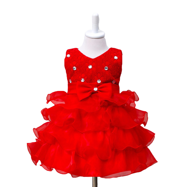 3444387ee0 Flower Baby Girl Dress Wedding Princess Girls Dresses 1 Year Birthday Kids  clothing Newborn party Cake