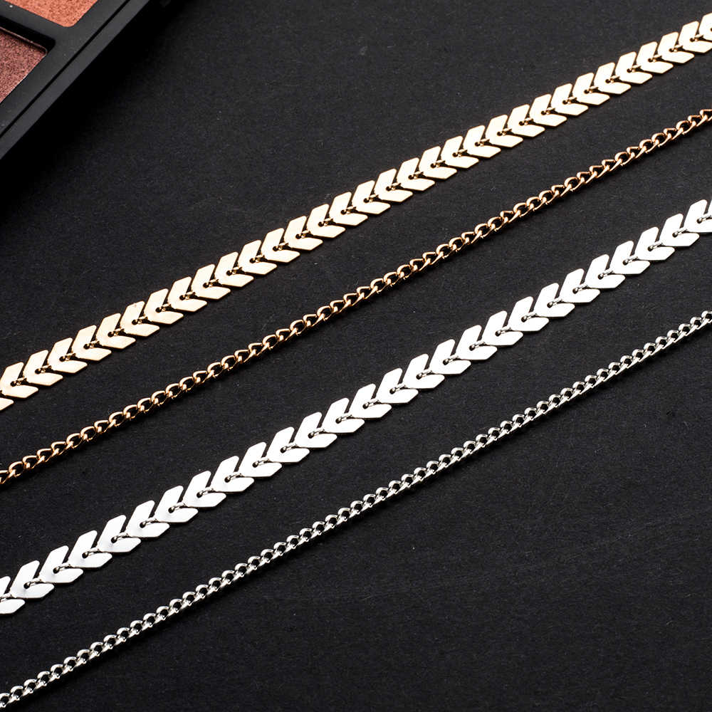 FAMSHIN 2018 New Chevron Chain Choker Two Layers Necklaces Fishbone Airplane Shape Gold Color Necklace Flat Chain jewelry