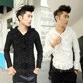 2016 Новый мужской одежды Мода плиссированные рябить laciness рубашка тонкий длинный рукав цветок одежда сплошной цвет мужской певица костюмы
