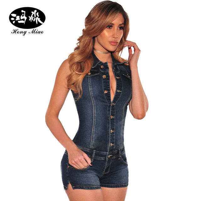 044a7623aebf HongMiao 2017 Denim Jumpsuit Overalls Women Rompersb Sleeveless Front  Button Short Jumpsuit Skinny Jeans Fashion Sexy ClubWear