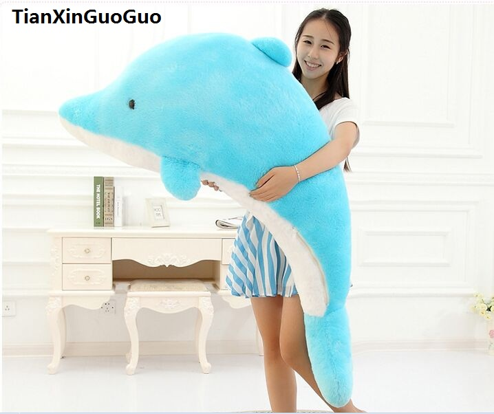 large 140cm cartoon dolphin plush toy lovely blue or pink dolphin soft doll hugging pillow birthday gift w2332 stuffed animal 90 cm plush dolphin toy doll pink or blue colour great gift free shipping w166