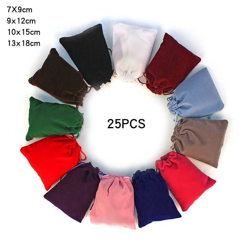 25Pcs/lot 7x9cm 9x12cm 10x15cm 13x18cm Coloful Velvet bag Jewelry Packing Velvet Drawstring Pouches Gift Bags Can customized