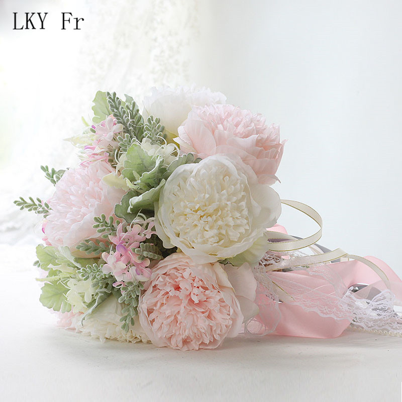 LKY Fr Wedding Bouquet Bridal Bouquet Silk Artificial Roses Peony Pink Wedding Bouquets For Bridesmaids Artificial Flowers Decor
