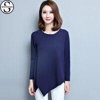 5xl Plus Size Camisetas Mujer 2017 T Shirt Women Long Sleeves T Shirt V Neck Vrouwen