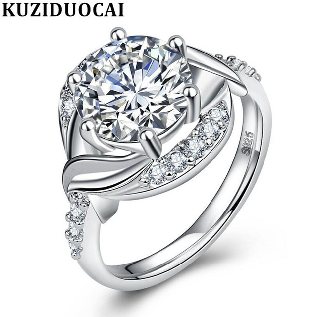 Kuziduocai New Fashion Jewelry Stainless Steel Zircon Big Stone Distorted Weddin
