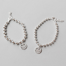 HFYK  2019 Smiley Beads Round Bracelet For Women 925 Sterling Silver Bangle Jewelry