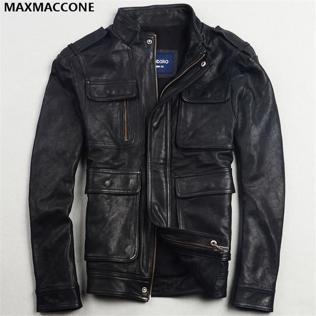Aliexpress.com : Buy 2018 Black Genuine Leather Mens Jacket ...