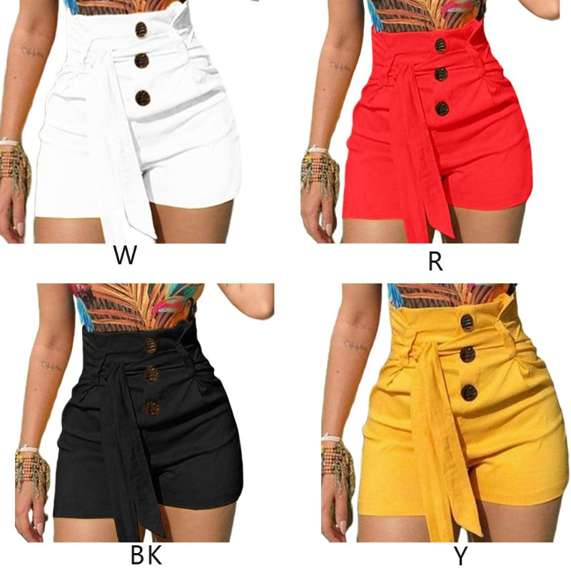 Womens Summer Plus Size High Waist Shorts Button Down Belted Lace Up Solid Color Skinny  Shorts Casual Night Clubwear S-5XL