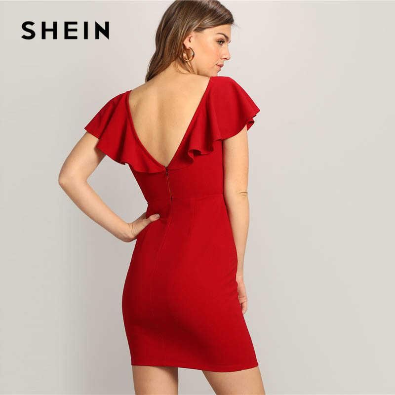 5a3a7133a8 ... SHEIN Red Sexy Zip V-back Short Butterfly Sleeve V Neck High Waist Mini  Dress ...