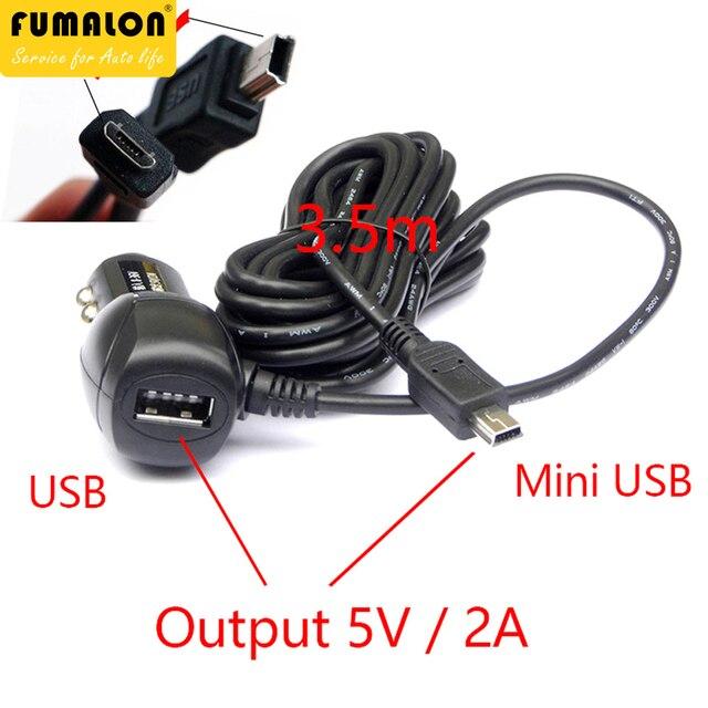Mini/mikro USB Portlu Çift USB 5 V 2A Araba şarj adaptörü Çakmak araba dvr'ı Araç Şarj ile 3.5 metre kablo