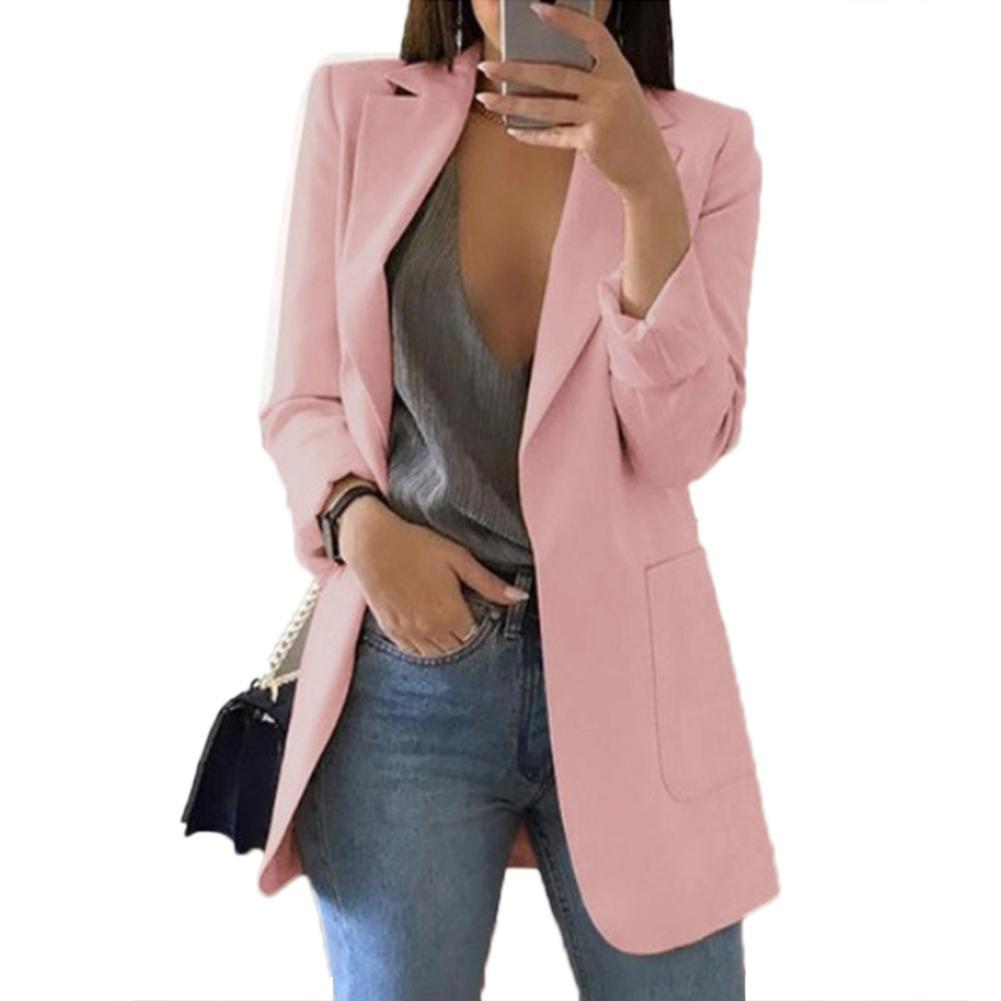 Wholesale Fashion Women Office Suit Solid Color No Button Lapel Slim Fit Blazer Coat