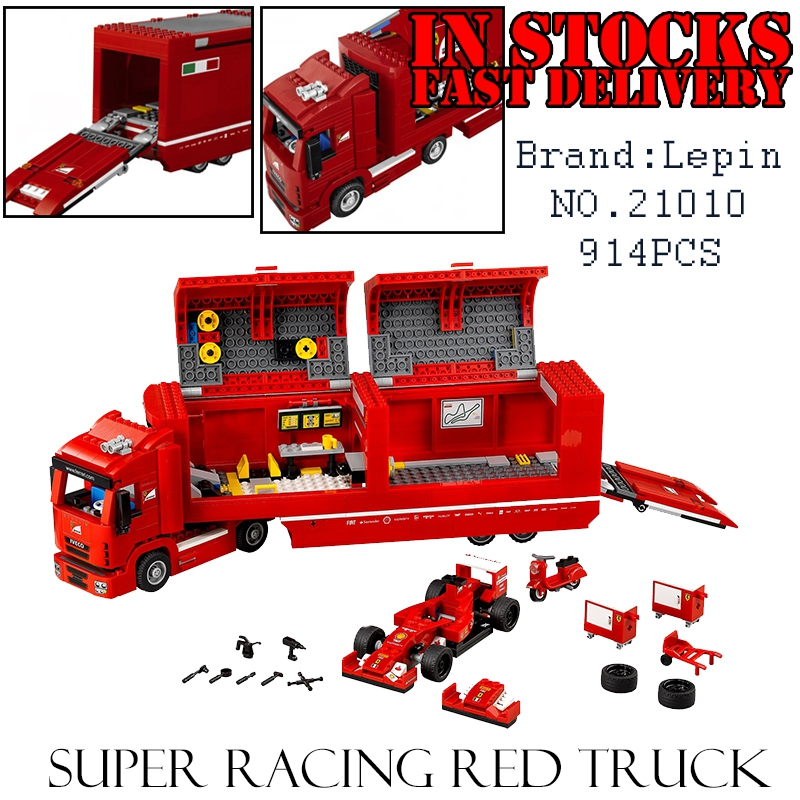 LEPIN 21010 914pcs Technic Super Racing Car Series The Red Truck Educational Building Blocks Bricks Toys for children gift 75913 2017 enlighten city series garbage truck car building block sets bricks toys gift for children compatible with lepin