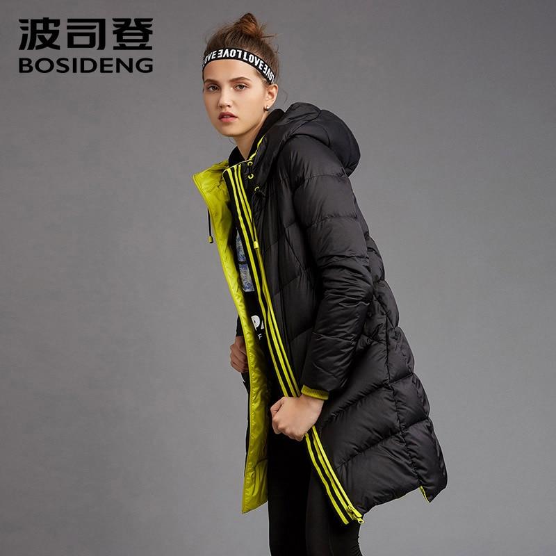 BOSIDENG women's   coat   duck   down     coat   winter long jacket hooded outwear draw-string hat workout   coat   girl outwear B1601192