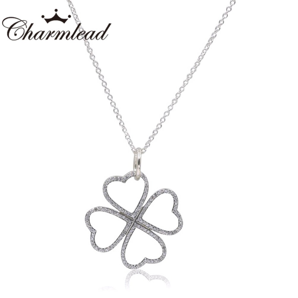 Charmlead 925 Sterling Silver Necklaces Petals of Love with Clear CZ Stone Pendant Bling Necklace Clover