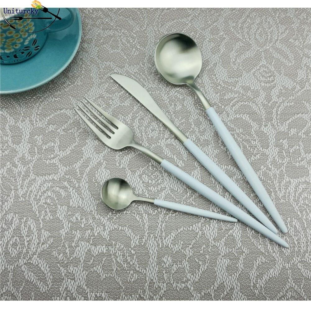 24 unids/lote vajilla occidental, juego de cubiertos de acero inoxidable 18/10, cuchillo para carne blanco plateado, tenedor, cucharita, juego de utensilios de cocina de 6|Juegos de vajilla|   - AliExpress