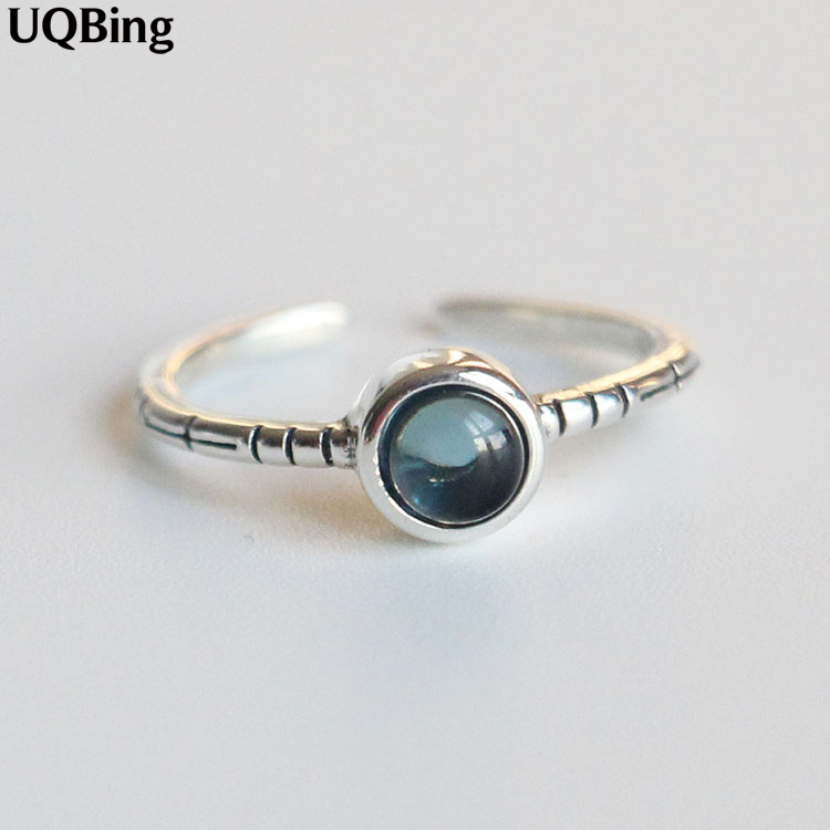 Real Thai Silver Opal Rings Open 100% 925 Sterling Silver Retro Ring Women Jewelry 2019