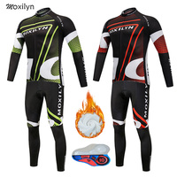 Moxilyn Cycling Jersey Set Winter Thermal Fleece Clothing MTB Bicycle Clothes Wear Maillot Ropa Ciclismo Men Cycling Bike Cloth
