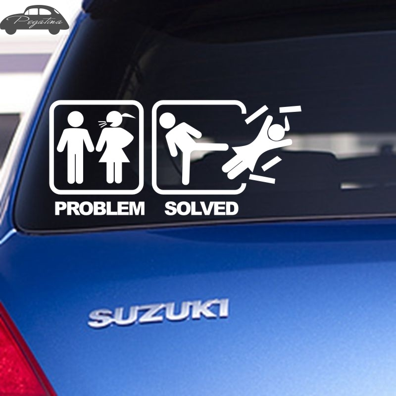 US $2 04 49% OFF|Pegatina Solved Decal Problem Sticker Car Window Vinyl  Decal Funny Poster Motorcycle-in Car Stickers from Automobiles &  Motorcycles