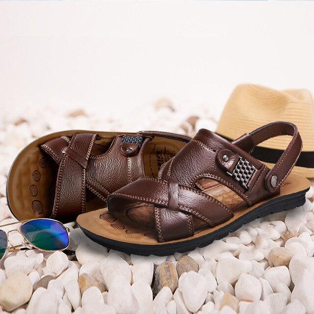 Grande tamanho 48 homens sandálias de couro verão clássico homens sapatos chinelos sandálias macias roman confortável sapatos de caminhada ao ar livre 4