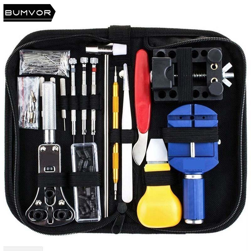A Set Practical Watch Band Repair Tool Table Kit Case Opener Screwdriver Knife with Canvas bag packing for Watch