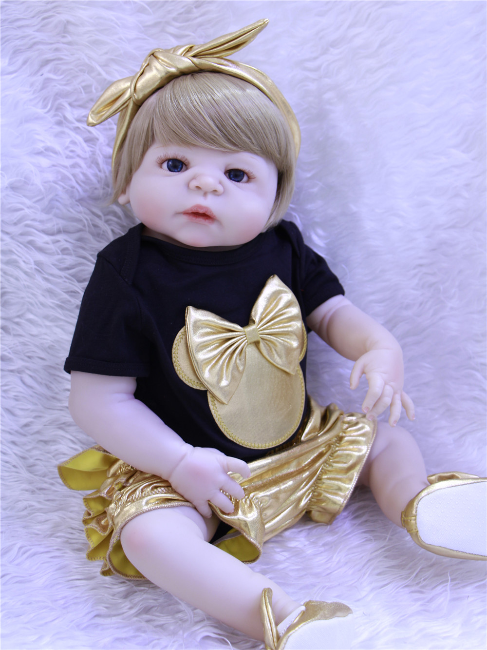NPK Bebes reborn menina 22inch Blonde hair full silicone reborn baby dolls toys for children gift can enter water oyuncak bebekNPK Bebes reborn menina 22inch Blonde hair full silicone reborn baby dolls toys for children gift can enter water oyuncak bebek