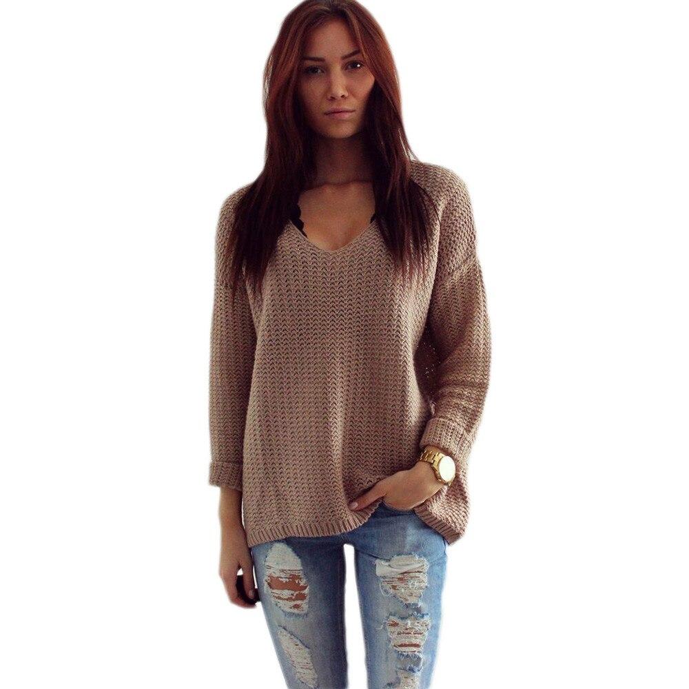 2018 Frauen Langarm V-ausschnitt Pullover Jumper Strickjacke Lose Pullover Jacke Frühling Herbst Frauen Pullover Dünne Strickjacke Frauen