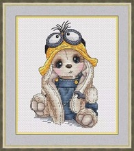 Needlework  14CT 16CT Cross Stitch, DIY Count Embroidery Set, Frog hat rabbit