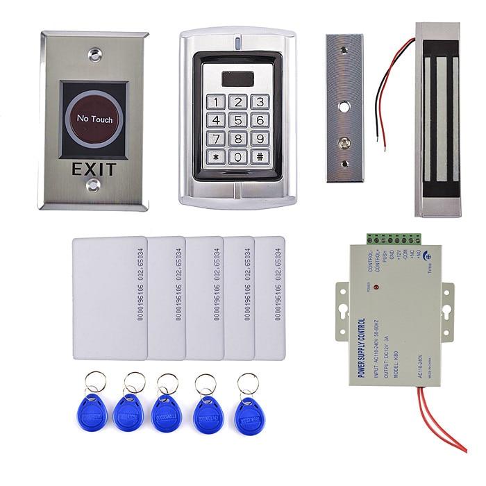 RFID Waterproof Access Control DIY Full Kit Set With Electric Control Lock Power Supply +IR Metal Switch diy access control kit waterproof