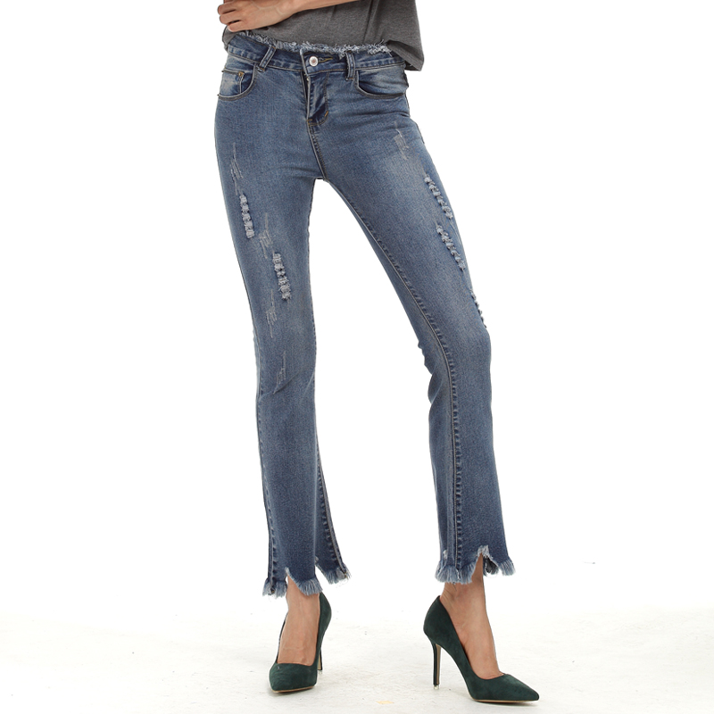 Retro Fashion Denim Large Size Women Tassel Flare trousers ankle length ripped womens jeans S-5XL OHN3019 inc new polished coral pink women s size large l keyhole tassel blouse $39 010