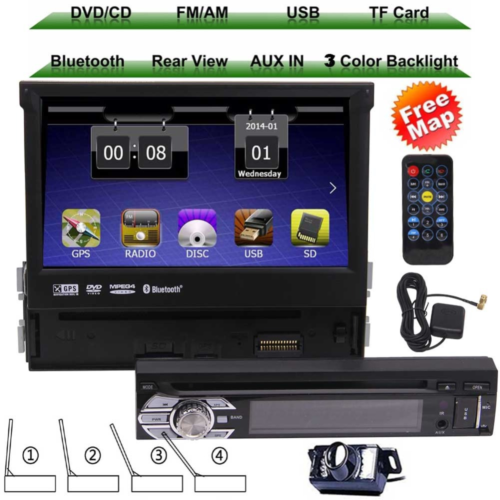 one 1 din automotive <font><b>car</b></font> Cassette GPS Navigation <font><b>car</b></font> dvd touch screen audio stereo <font><b>Bluetooth</b></font> video in center console free camera