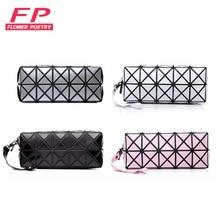 Fashion Geometric Zipper Cosmetic Bag Women Laser Diamond  Leather Makeup Bag Ladies Cosmetics Organizer Storage Bags Trend 2016