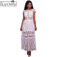 La Chilly Robe Dentelle 2018 Abiti Donna Cute Spring or Summer Dress Women's White Lace Hollow Out Party Long Dresses Vestido Largo
