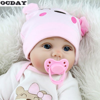 55CM Kids 6PCS/SET Cute Baby Reborn Doll Soft Lifelike Newborn Doll Girls Early Educational Toy Birthday Gifts For Child Bedtime