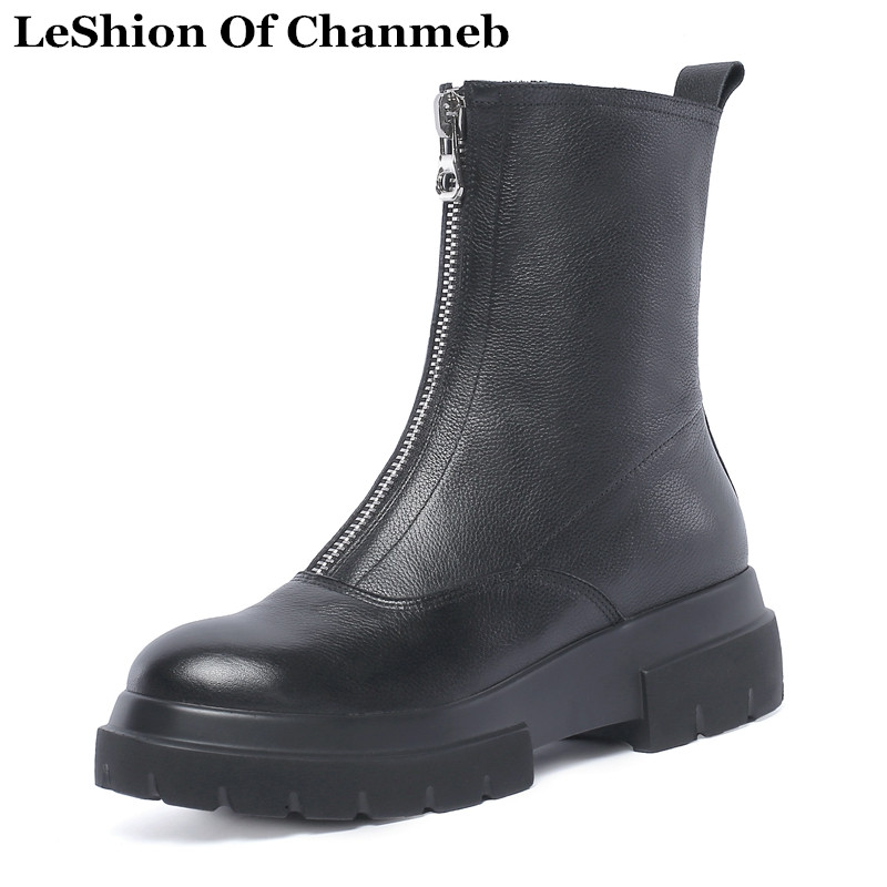 2019 soft real leather women ankle boots platforms wedges motorcyle boots thick sole front zipper white